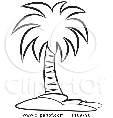Drawn palm tree black and white #12