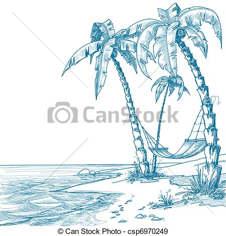 Palm Tree clipart beach theme Of Vectors csp6970249 with trees