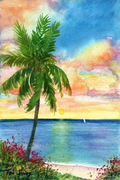 Drawn palm tree lanscape #13