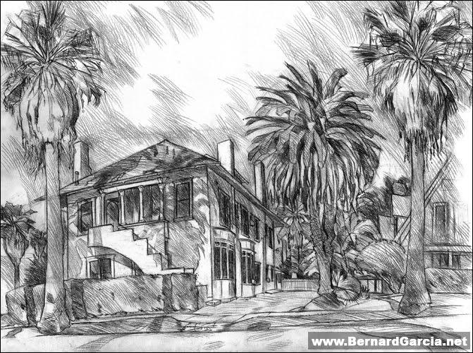Drawn palm tree lanscape #3