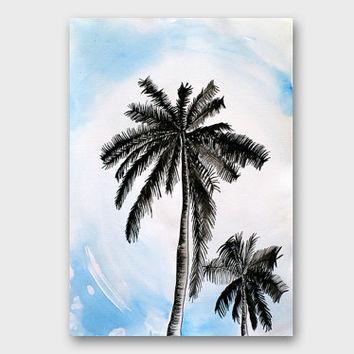 Drawn palm tree lanscape #5