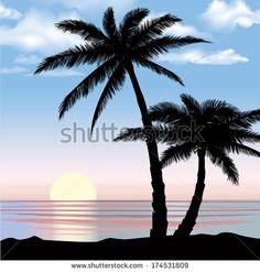 Drawn palm tree lanscape #10