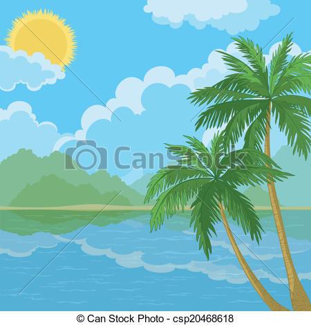 Drawn palm tree lanscape #4