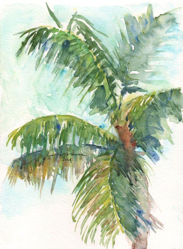 Drawn palm tree lanscape #11