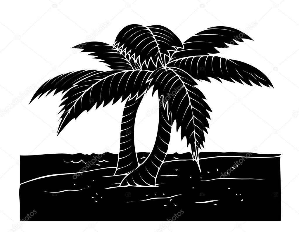 Drawn palm tree lanscape #6