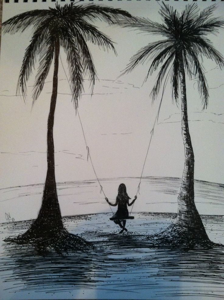 Drawn palm tree pen and ink #13