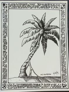 Drawn palm tree pen and ink #14