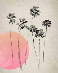 Drawn palm tree retro #3