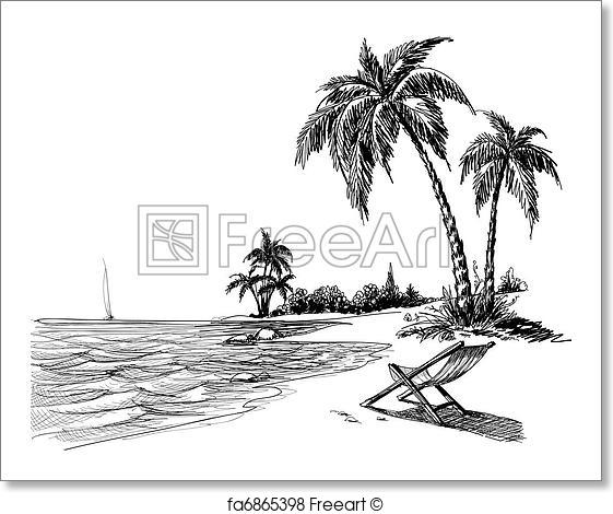 Drawn palm tree summer beach #2
