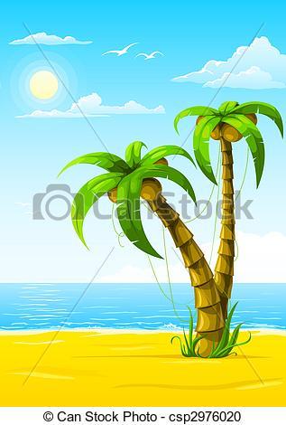 Drawn palm tree summer beach #4