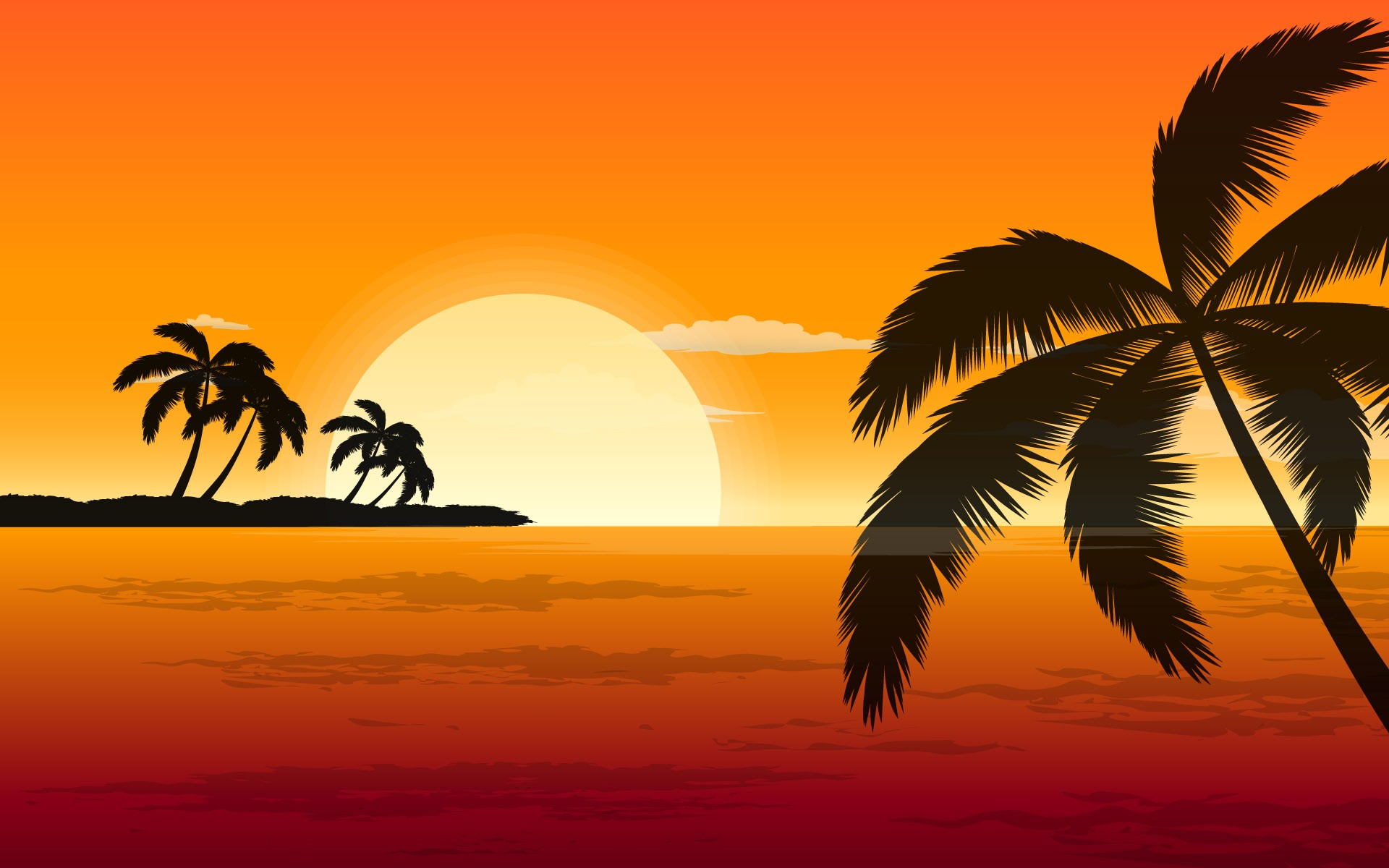 Drawn palm tree sunset Beach Palm Drawing TVRAGE Trees
