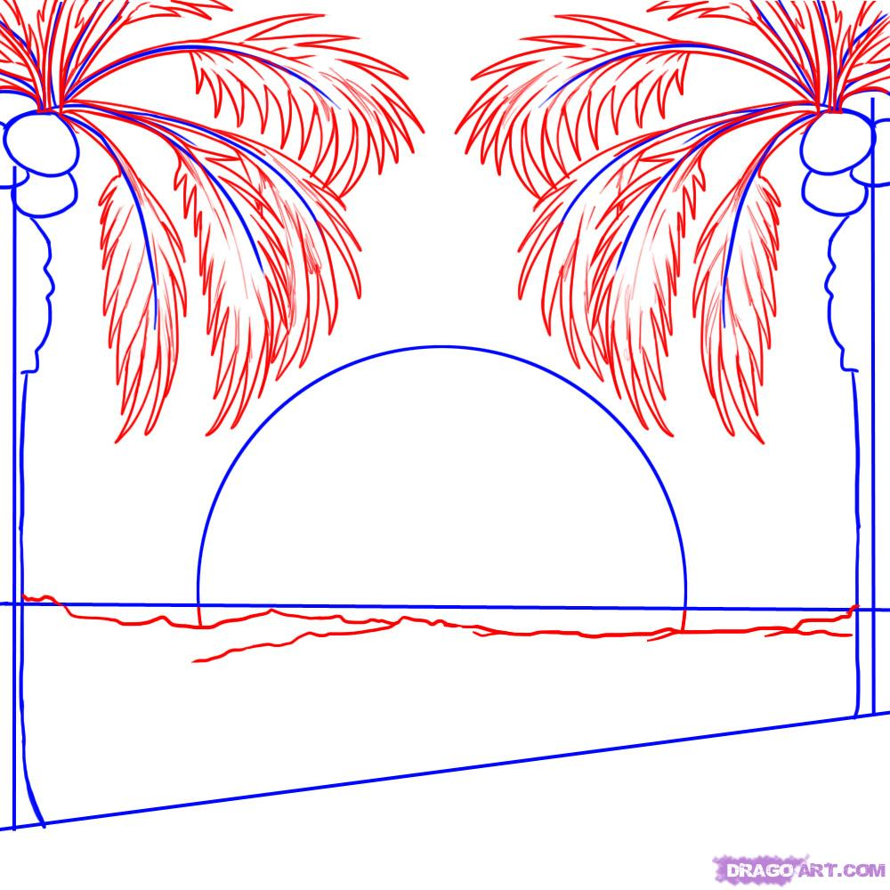 Drawn palm tree sunset How Draw Step step by