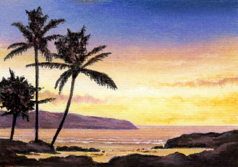 Drawn palm tree sunset We this can Sunset paper