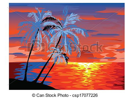 Drawn palm tree sunset Vector Illustration beach with in