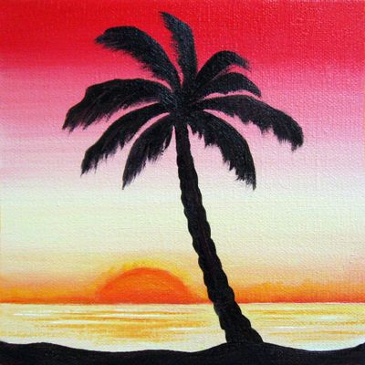 Drawn palm tree sunset Sunset painting sunset painting and