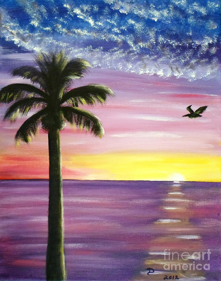 Drawn palm tree sunset Pelican Sunset Pelican Paintings Sunset