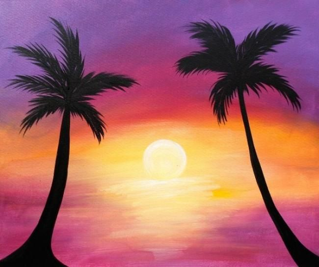 Drawn palm tree sunset Find Best ideas on silhouette