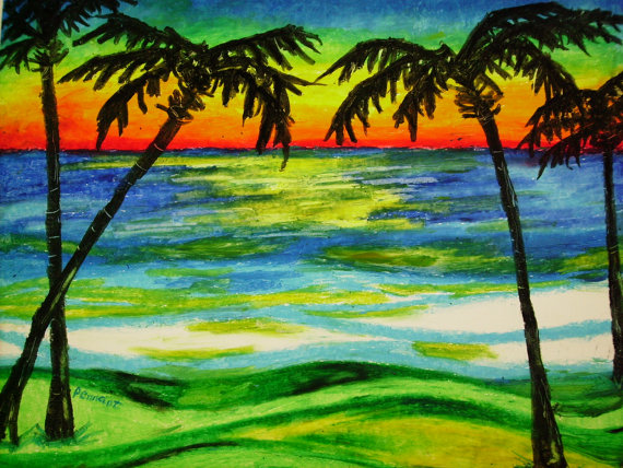 Drawn palm tree sunset Like Oil Sunset at this