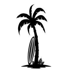 Drawn palm tree surfboard #11