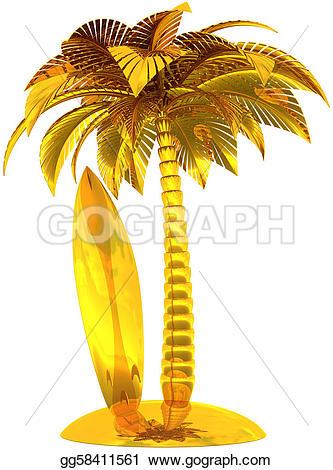 Drawn palm tree surfboard #9