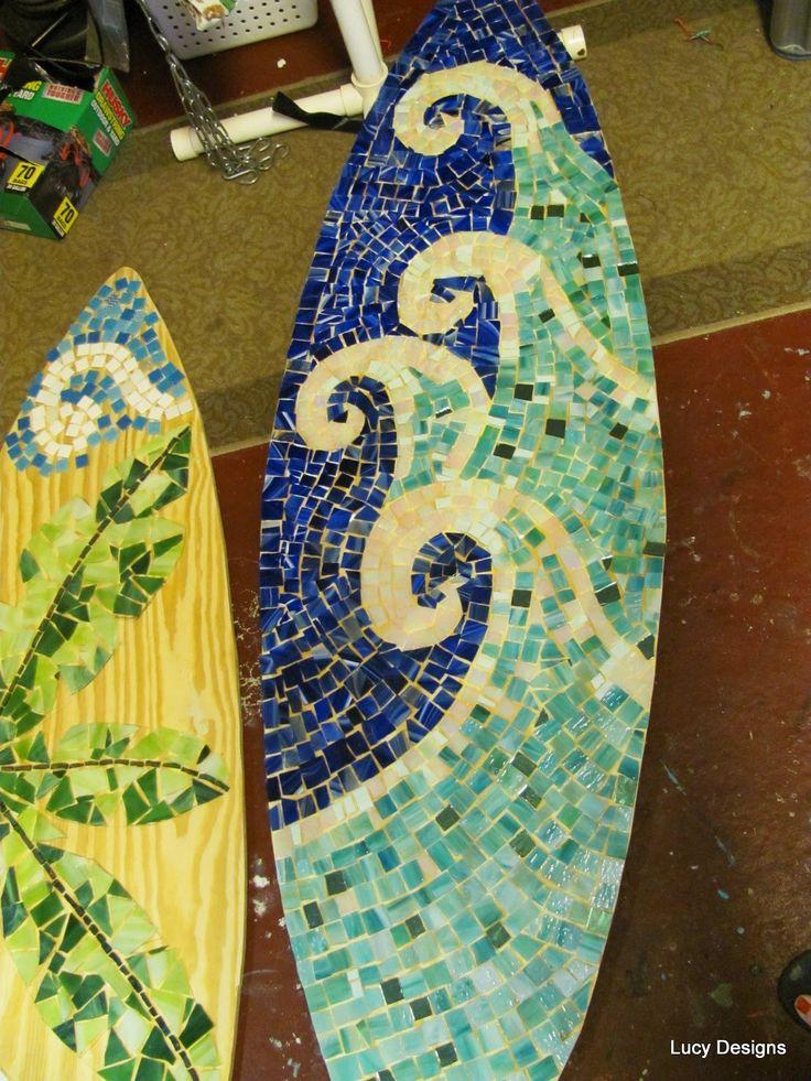 Drawn palm tree surfboard #10