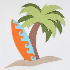 Drawn palm tree surfboard #8