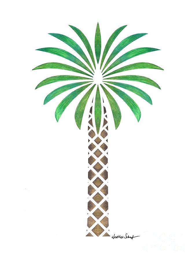 Drawn palm tree tribal Drawing by Schaefer Palm Palm
