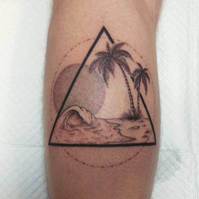 Drawn palm tree tribal Tree Palm Tattoo Fine Super