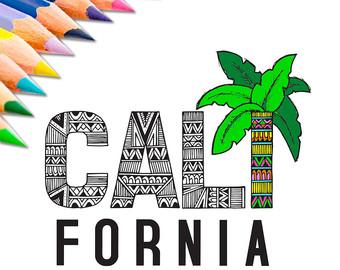 Drawn palm tree tribal Page California Print Download Britney