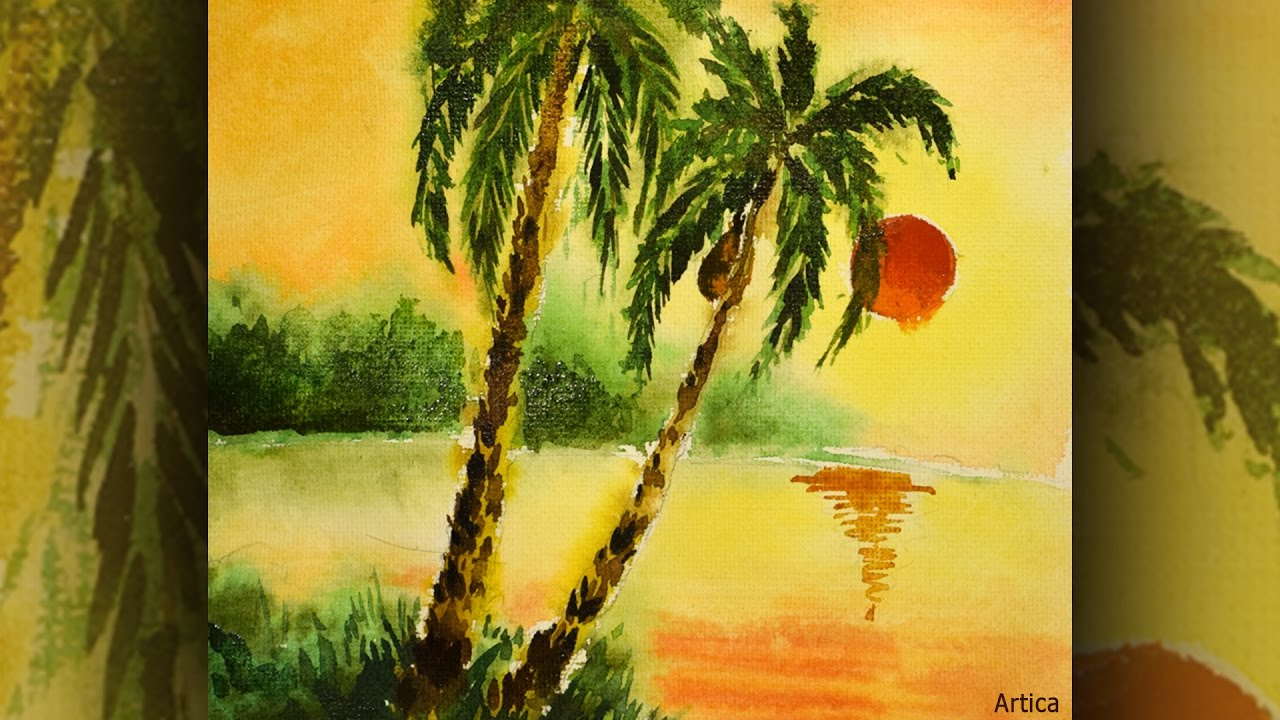 Drawn palm tree watercolor painting Sunset to with Sunset Palm