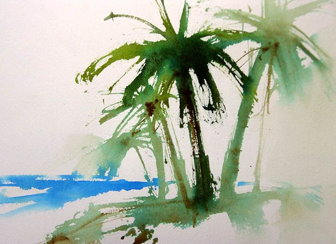 Drawn palm tree watercolor painting Trees palm best Palm Stuff