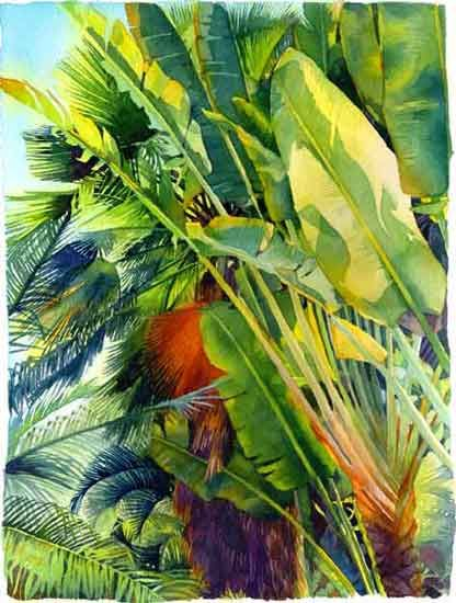 Drawn palm tree watercolor painting Tree best Paintings images Pinterest