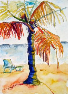 Drawn palm tree watercolor painting Drawing Painting View Tree Watercolor