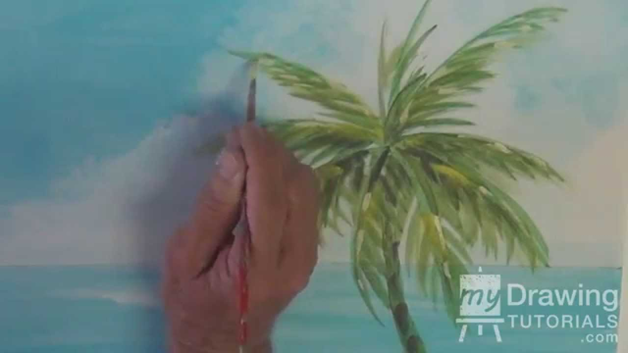 Drawn palm tree watercolor painting Seascape Seascape Lesson 2) To