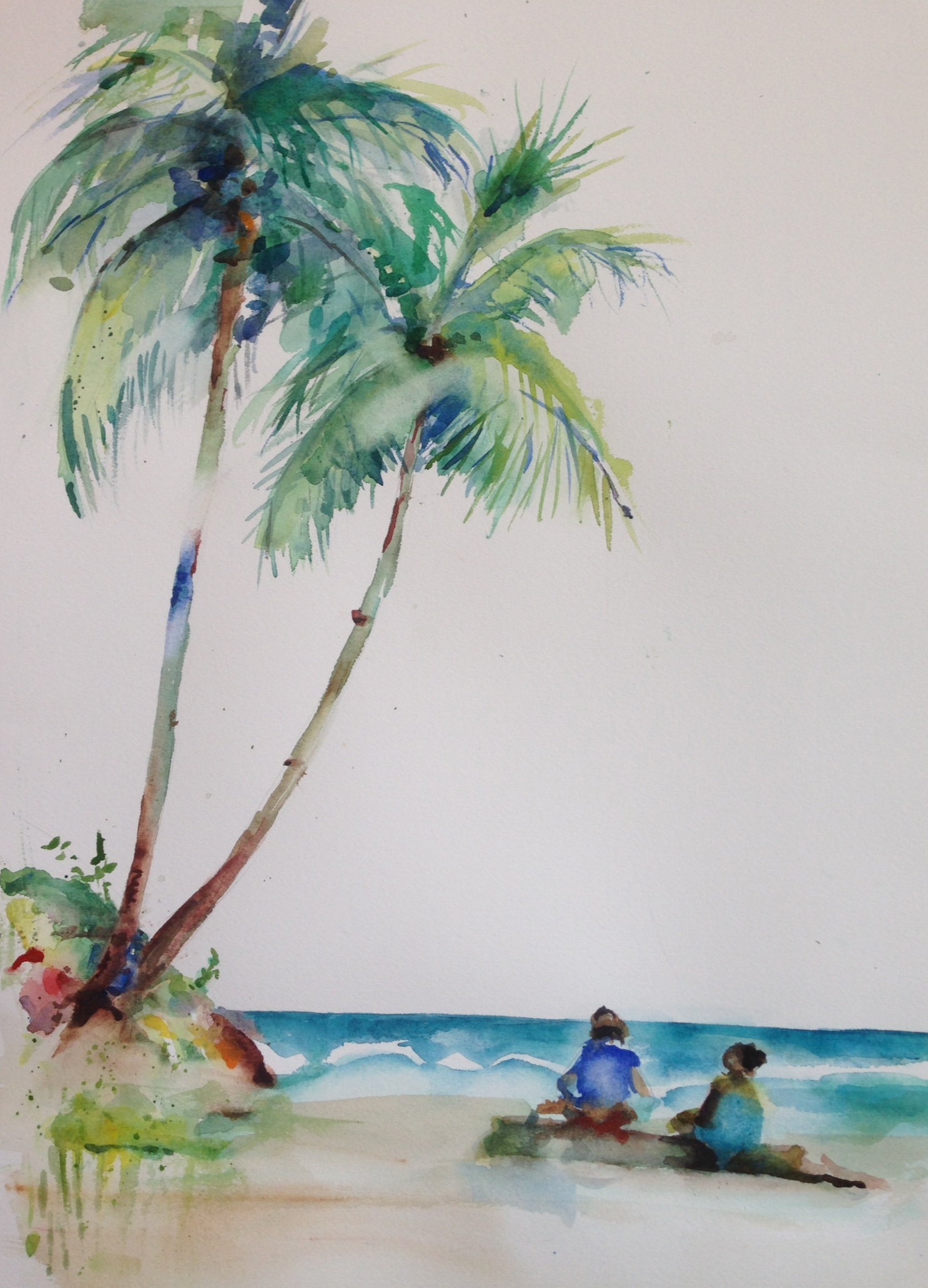 Drawn palm tree watercolor painting Palms watercolor Carol King: painting