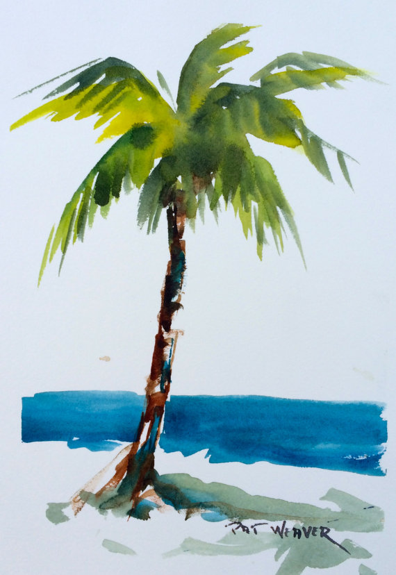 Drawn palm tree watercolor painting Trees PALM Painting palms Images
