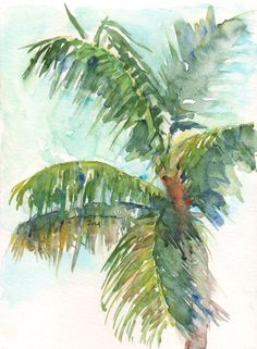 Drawn palm tree watercolor painting Canvas this Palm on Palm