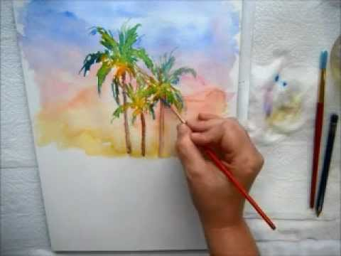 Drawn palm tree watercolor painting Coconut Watercolor YouTube Trees Palm