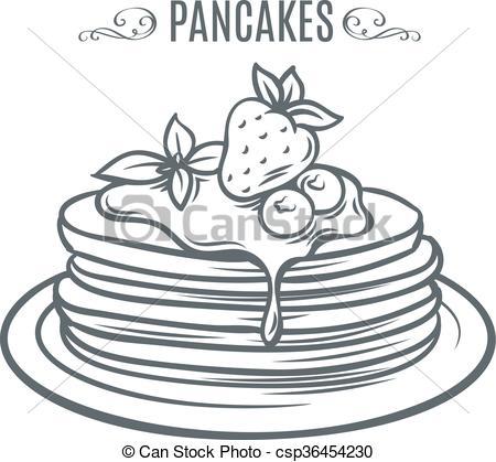 Drawn pancake Of Vectors strawberries drawn drawn