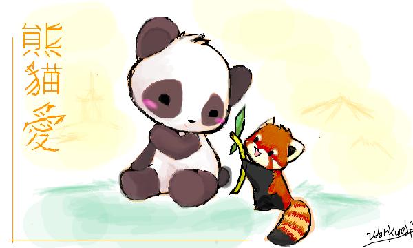 Drawn red panda adorable baby Panda bamboo How eating draw