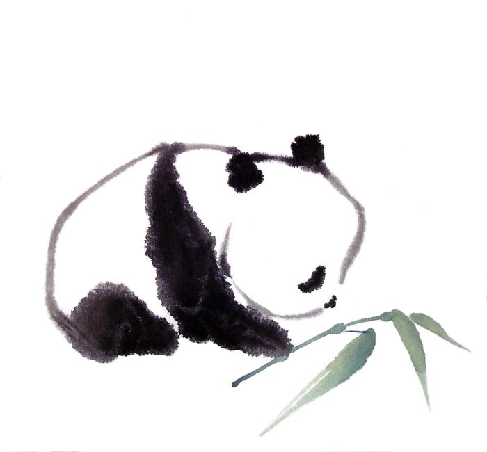 Drawn panda art Only Pon painting on Brush
