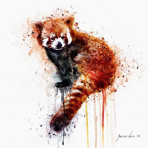 Drawn red panda china red Animal art tattoo Red on