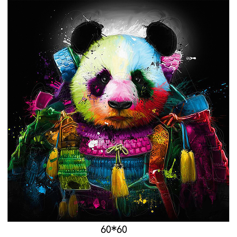 Drawn panda spray paint Animal Abstract  on Painting