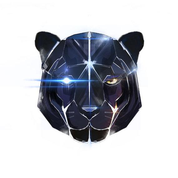 Drawn panther cat Panther art robot Futuristic print