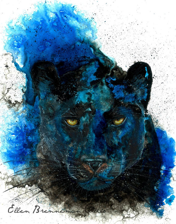 Drawn panther cat Black art by Panther