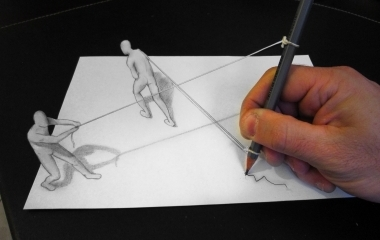 Drawn paper 3d art The fingers 3d drawing the