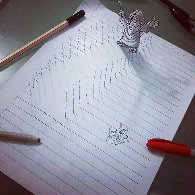 Drawn paper 3d art With drawings 3D notepad Self