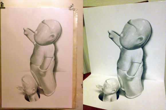Drawn paper 3d illusion Boy 3D Drawing