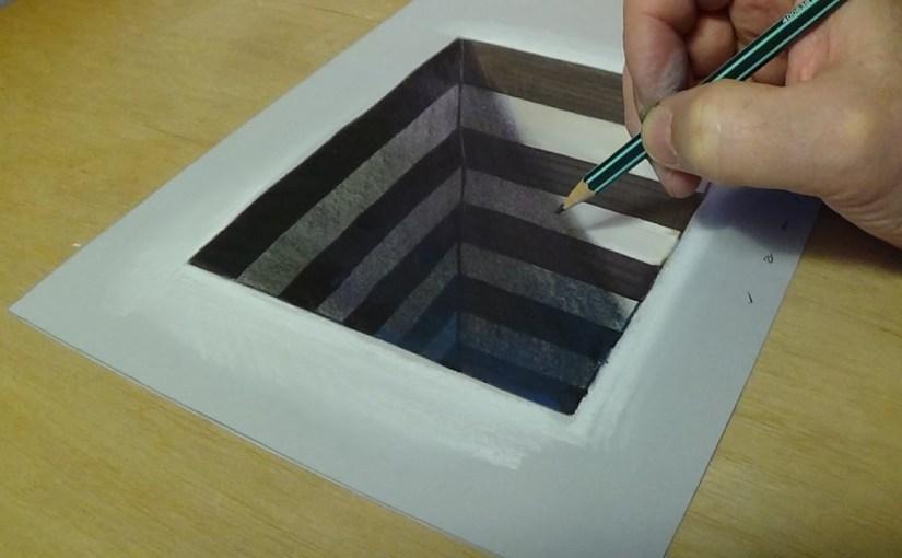 Drawn paper anamorphic illusion To Anamorphic Hole – Hole