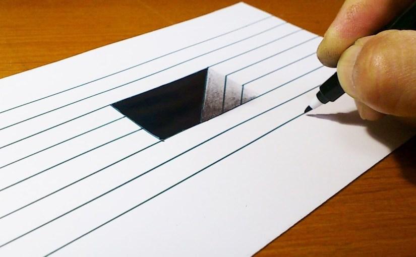 Drawn paper anamorphic illusion How Illusion Hole Kids 3D